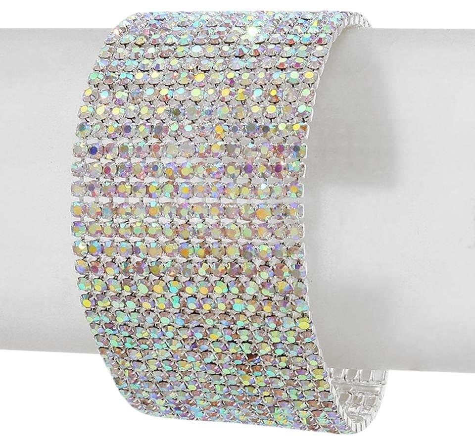 7a16dc952a24d Ab Crystals and Rhinestones Silver/Rhodium 15 Rows Metal Bracelet