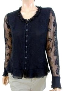 Claudia Richard Longsleeve Floral Lace Ruffle Top Black