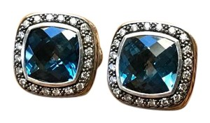 David Yurman David Yurman Albion Diamond & Blue Topaz Earrings