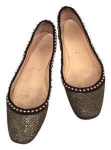 Christian Louboutin Studded Gold and Black Flats