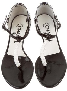 Chanel Camellia Interlocking Cc Logo Tweed Silver Hardware Black, White Sandals