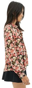 Forever 21 Rose Print Chiffon Neck Tie Top Rose Multi