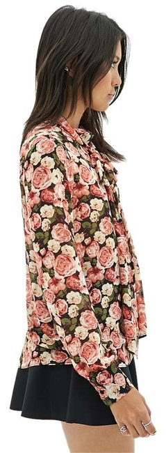 Forever 21 Print Chiffon Neck Tie Top Rose Multi Image 0