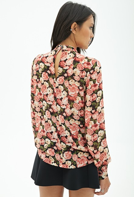 Forever 21 Print Chiffon Neck Tie Top Rose Multi Image 1