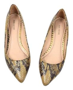 Pour La Victoire Metallic Python Leather Pointy Toe Gold Flats