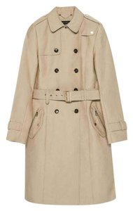 Zara Trench Gold Zips Trench Coat