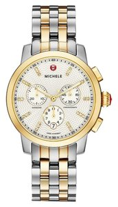 Michele NWT Uptown Diamond Dial Two Tone gold/ silver Watch MW25A00C9942