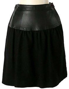 Salvatore Ferragamo Leather Wool Flare Two-tone Skirt Black