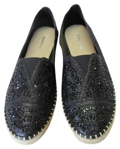 Gianni Bini With Tag Fully Beaded Size 8.50 M Excellent Condition Black, Neutral Flats