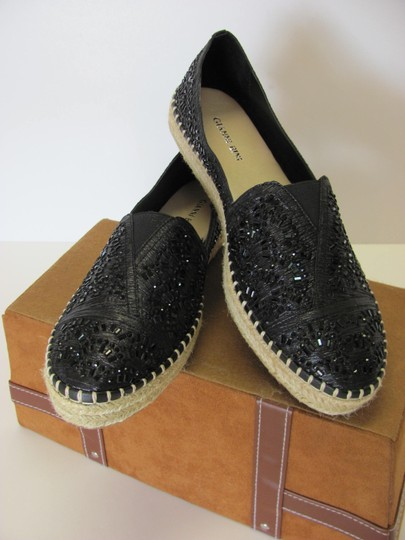 Gianni Bini With Tag Fully Beaded Size 8.50 M Excellent Condition Black, Neutral Flats Image 1