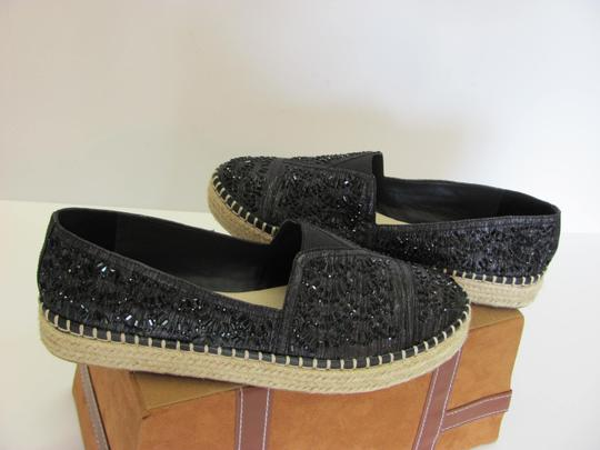 Gianni Bini With Tag Fully Beaded Size 8.50 M Excellent Condition Black, Neutral Flats Image 2