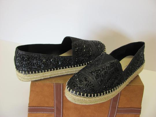 Gianni Bini With Tag Fully Beaded Size 8.50 M Excellent Condition Black, Neutral Flats Image 3