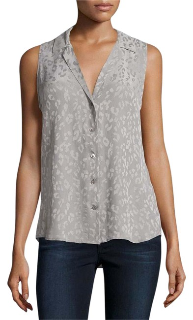 Item - Frost Gray New Sleeveless Leopard Print Silk Blouse Button-down Top Size 6 (S)