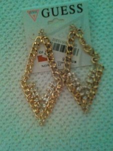 Guess NEW WITH TAG GUESS GOLDTONE CHAIN EARRINGS WITH CRYSTALS