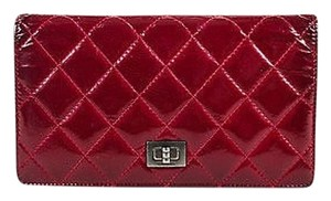 Chanel Chanel Dark Red Gunmetal Gray Patent Leather Quilted Reissue Wallet