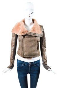 Rick Owens Leather Knit Insert Shearling Collar Moto Motorcycle Jacket