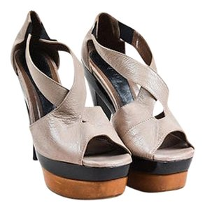 Marni Taupe Leather Patent Beige,Black,Brown,Taupe, Light Brown Sandals