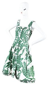Oscar de la Renta White Silk Print Ruched Sleeveless A Line Dress