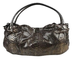 Devi Kroell Metallic Gunmetal Genuine Python Leather Satchel in Gray