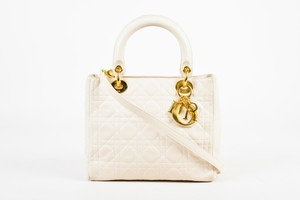 Dior Lambskin Cannage Stitch Lady Tote in White