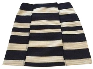 Ann Taylor LOFT A-line Blend Raw Edge Seams Textured Woven Mini Skirt Navy/White