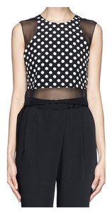 Elizabeth and James Silk Chiffon Dot Crop Top Black with white polka dots