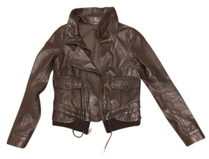 Theory Leather Bomber Chocolate Brown Leather Jacket