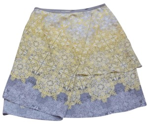 NIC+ZOE Skirt Yellow & Grey