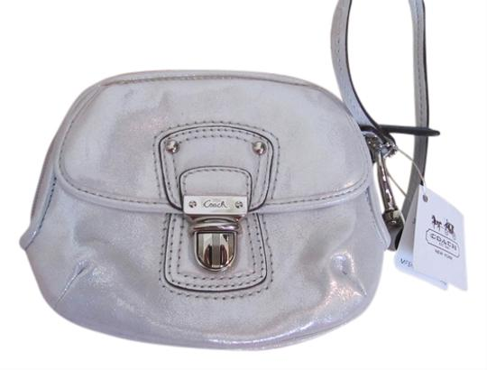 Coach Leather Metallic Wristlet in Silver