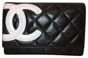 Chanel Chanel Calfskin Quilted Cambon Wallet In Black And White