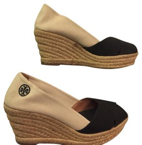 Tory Burch Ivory and black Wedges