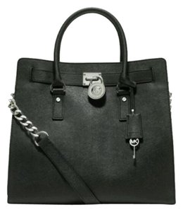 Michael Kors Saffiano Leather Tote in Black/Silver Hardware