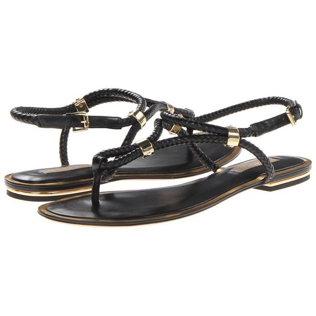 Item - Black with Gold Detail Collection Hartley Flat Sandals Size US 9 Regular (M, B)