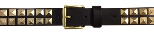 J.McLaughlin Brown Leather J. McLaughlin Belt with Gold Metal Rock Studs