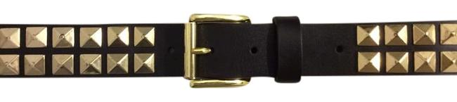Item - Brown and Gold Leather with Metal Rock Studs Belt