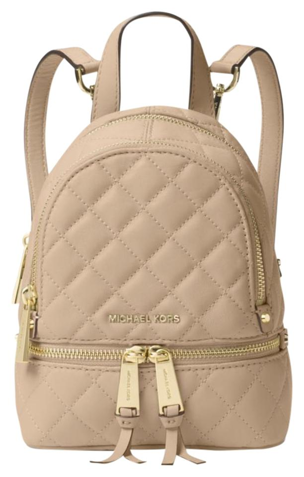 1b3121ca9101 Michael Kors New Rhea Zip Mini Bisque Quilted Leather Backpack - Tradesy