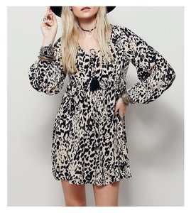 Free People short dress Animal print Boho Flowy Mini on Tradesy