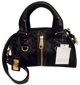 Badgley Mischka Haircalf Leather Rare Satchel in Black