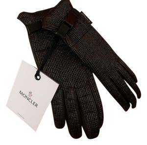 Moncler LEATHER WOVEN BUCKLE CHOCOLATE WINTER GLOVES L $365 ITALY