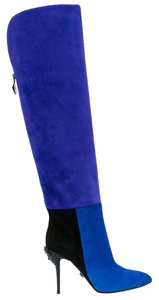 Versace Leather Color-blocking Blue Boots