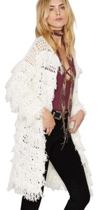 Line & Dot Boho Rocker Tassel Duster Top Ivory White