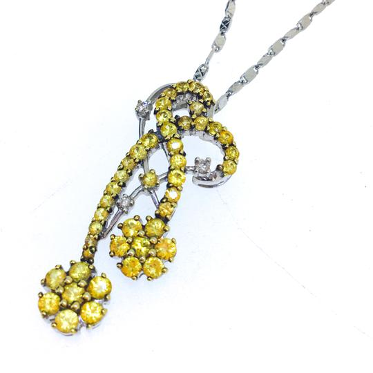 Other 18K White Gold Color Sapphire Diamonds Necklace