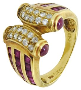 Other 18K Yellow Gold Rubies Diamonds Ring