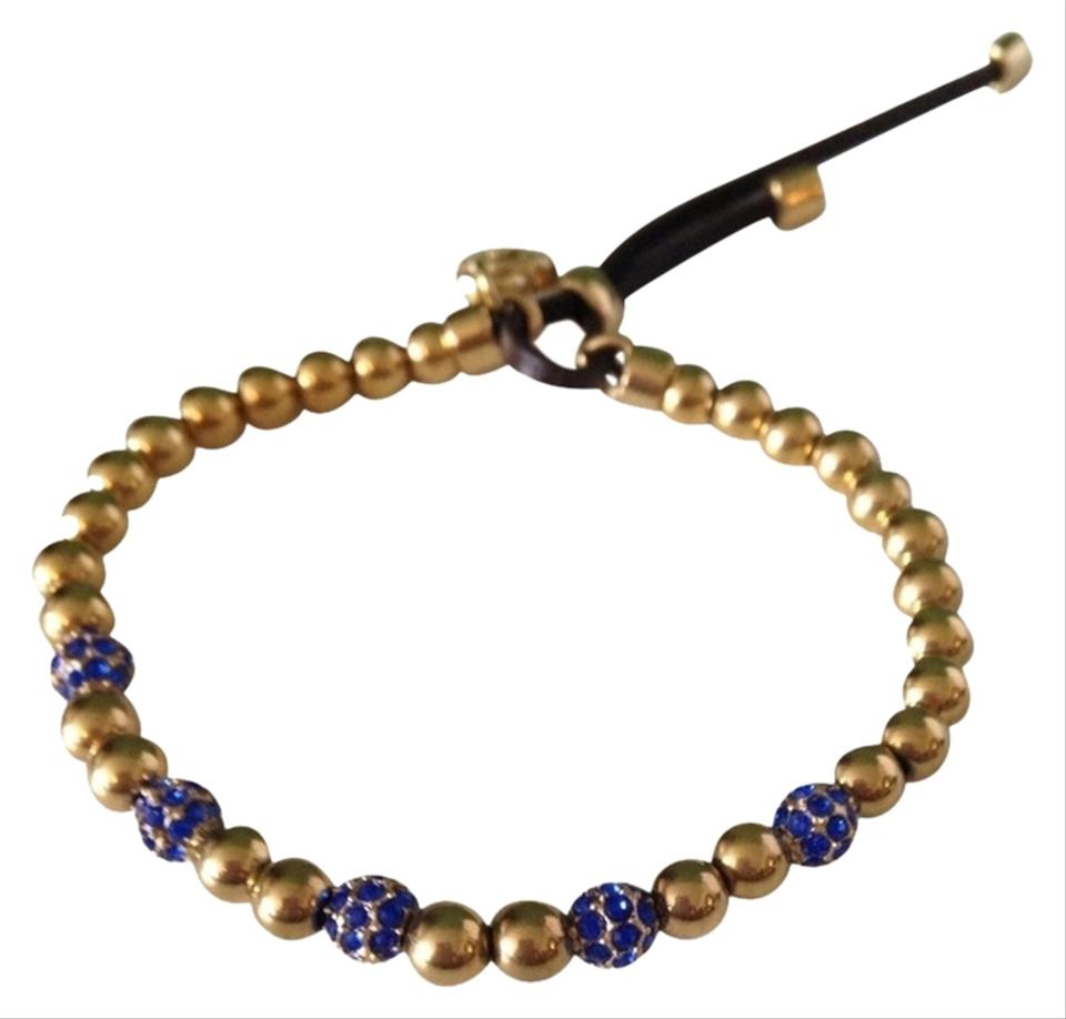 Michael Kors Gold Tone Blue Bead Fireball Stretch Bracelet