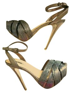 Halston Sexy Metallic Party Platform Silver Metalic Platforms