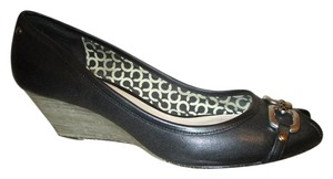 Coach Leather Open Toe Wedge black Wedges