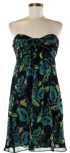 Betsey Johnson Strapless Silk Chiffon Floral Dress