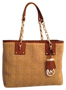 Michael Kors Woven Straw Leather Gold Hardware Brown New With Tags Shoulder Bag