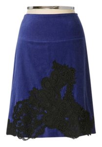 Anthropologie Velvet Embroidered Embellished Lace Holiday Skirt Blue Black