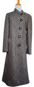 Frances Heffernan Houndstooth Plaid Winter Wool Pea Coat